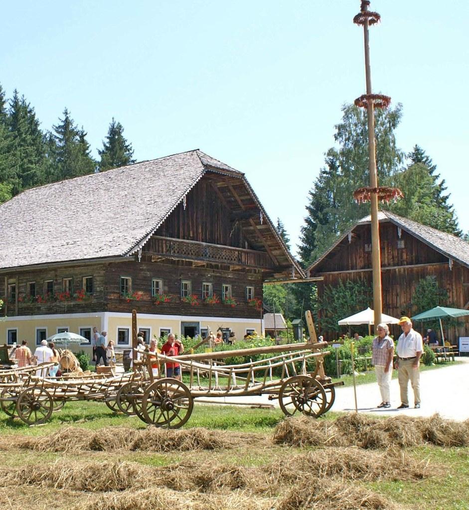 Maibaumaufstellen im Salzburger Freilichtmuseum