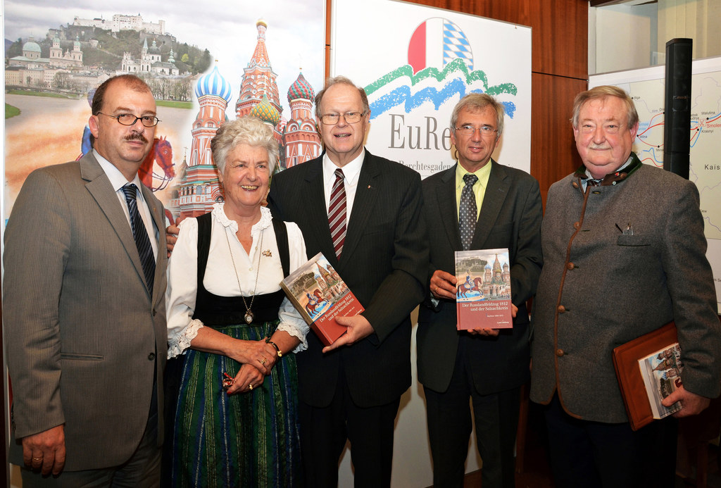 Dr. Oskar Dohle, HR Dr. Friederike Zaisberger, HR Dr. Christian Marckhgott, EuRegio-Präsident Dr. Emmerich Riesner und Prof. Dr. Hermann Rumschöttel