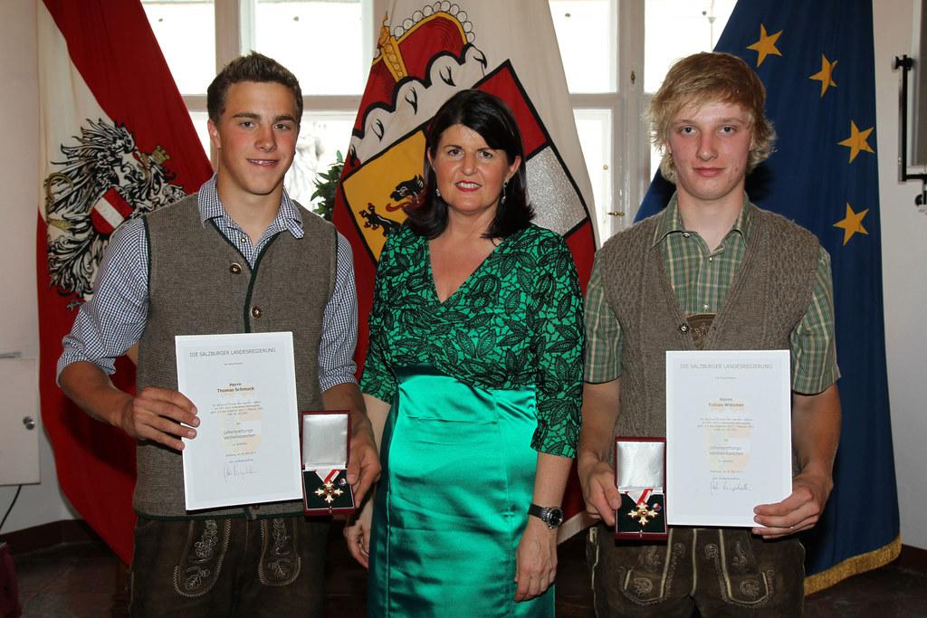Thomas Schmuck, Landeshauptfrau Mag. Gabi Burgstaller und Tobias Wimmer