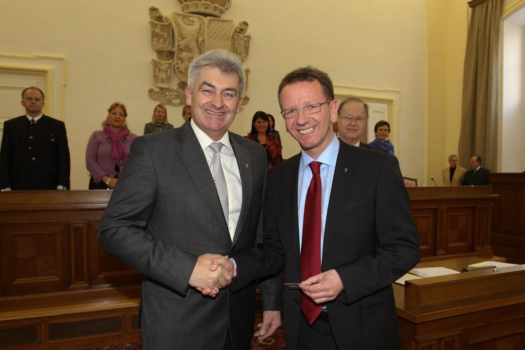 Landtagspräsident Simon Illmer und Labg. Andreas Wimmreuter