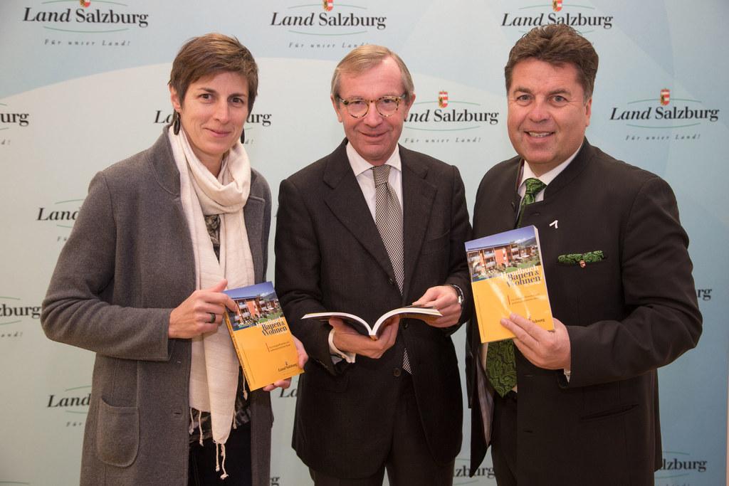 Im Bild v.l.: LH Stv. Dr. Astrid Rössler, LH Dr. Wilfried Haslauer und LR Hans M..