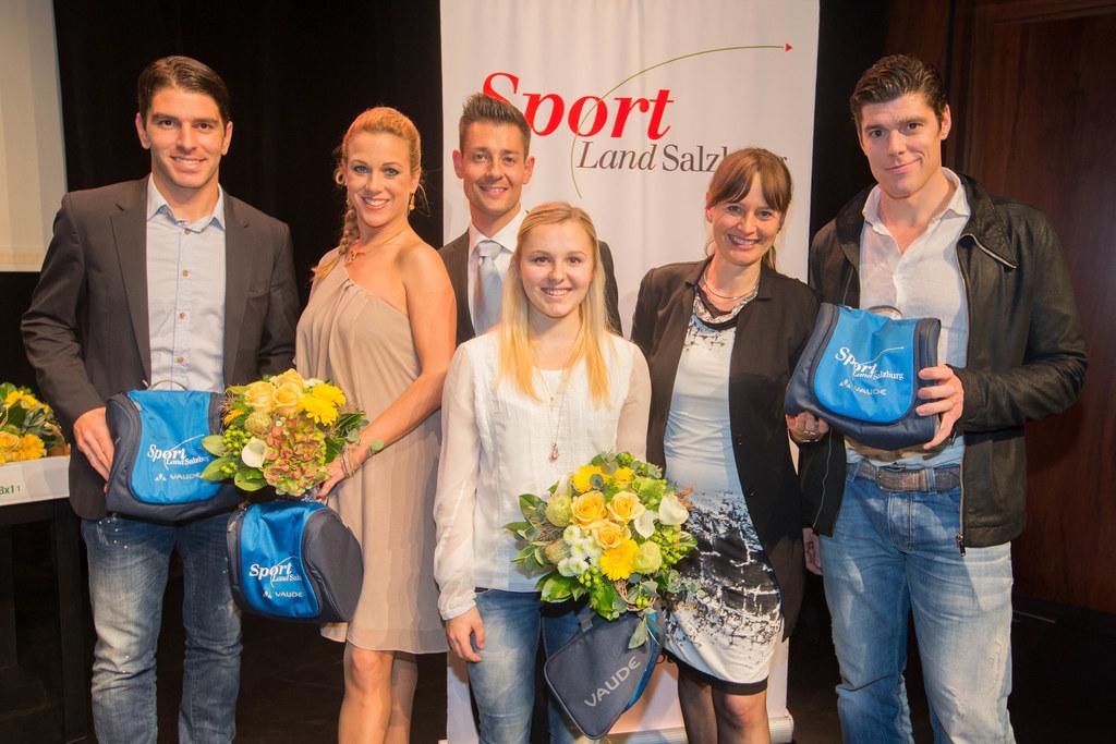 Jonatan Soriano, Manuela Stöckl, Florian Gschaider, Chiara Hölzl, Landesrätin Ma..