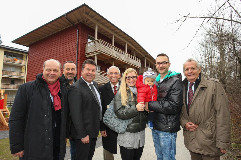 Arch. Hans Scheicher, GF Rudolf Zrost Leube, LR Hans Mayr, Dir. Karl Huber Heima..