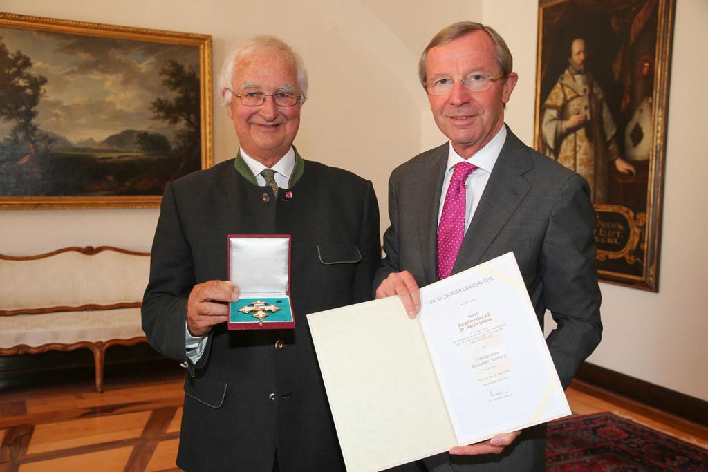 Bgm. a.D. Harald Lettner und Landeshauptmann Dr. Wilfried Haslauer,