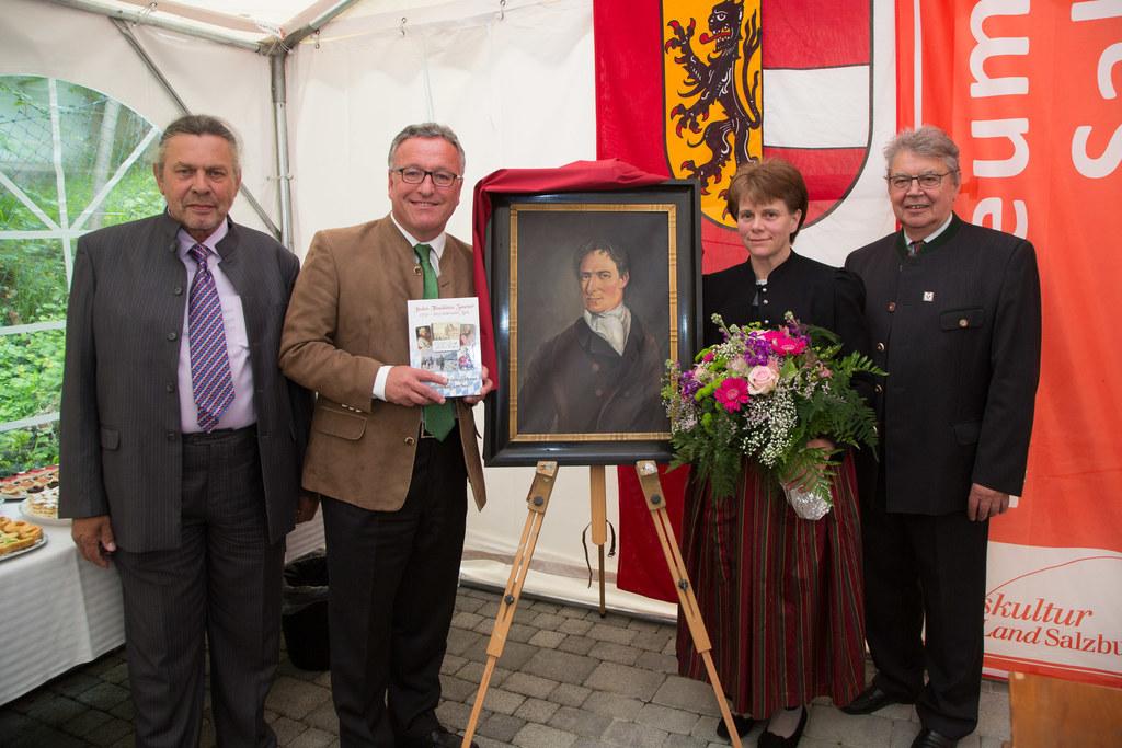 Sulpicius Bertsch, LR Dr. Heinrich Schellhorn, Hemma Ebner und Kustos Alfred Hue..