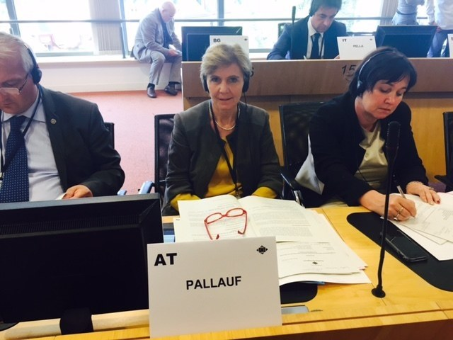 Landtagspräsidentin Brigitta Pallauf bei der AdR-Sitzung in Brüssel