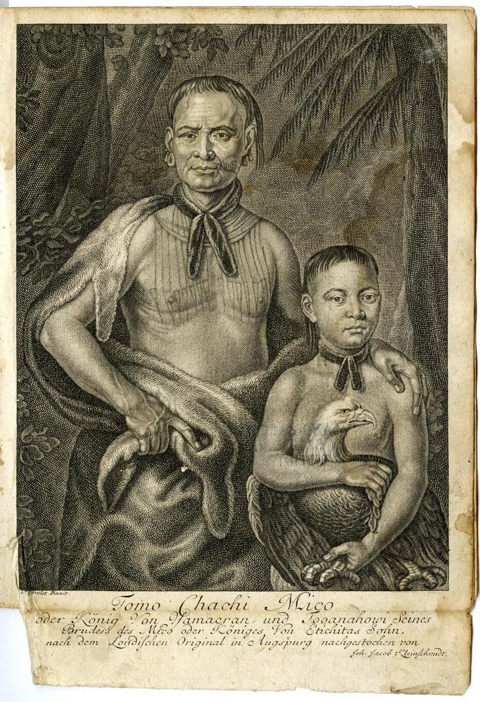 Indianerkönig Tomochichi (hier mit seinem Neffen) herrschte bei Ankunft der Salz..