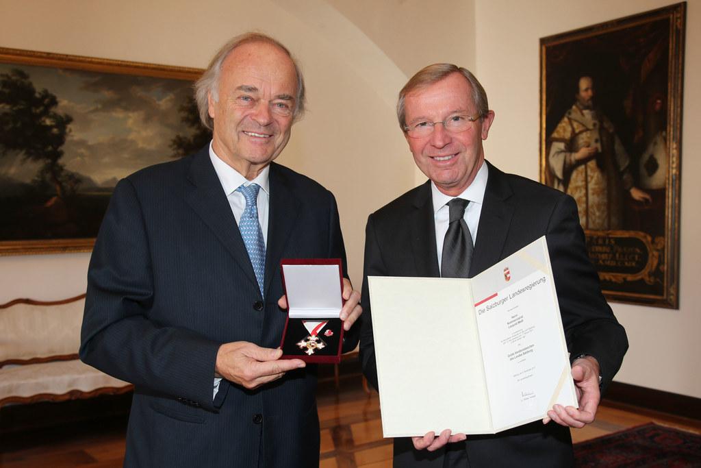 Kommerzialrat Leopold Wedl und Landeshauptmann Dr. Wilfried Haslauer,