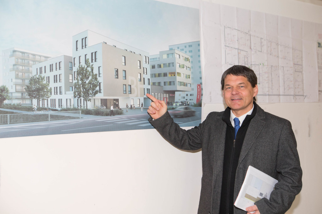 Baustellenbesichtigung neue BH in Hallein, Bezirkshauptmann Helmut Fürst