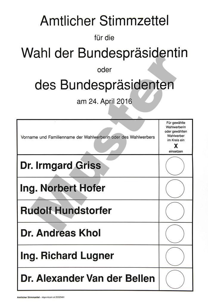 Stimmzettel Muster Bundespräsidentenwahl 2016