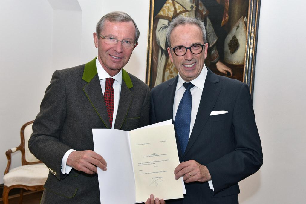 Landeshauptmann Wilfried Haslauer und Michael Nake