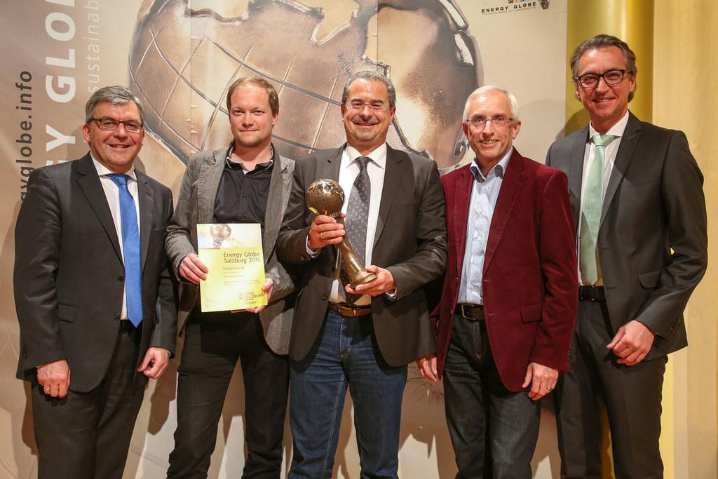 Verleihung des Energy Globe Salzburg am 26. Mai 2016: LR Josef Schwaiger, Projek..