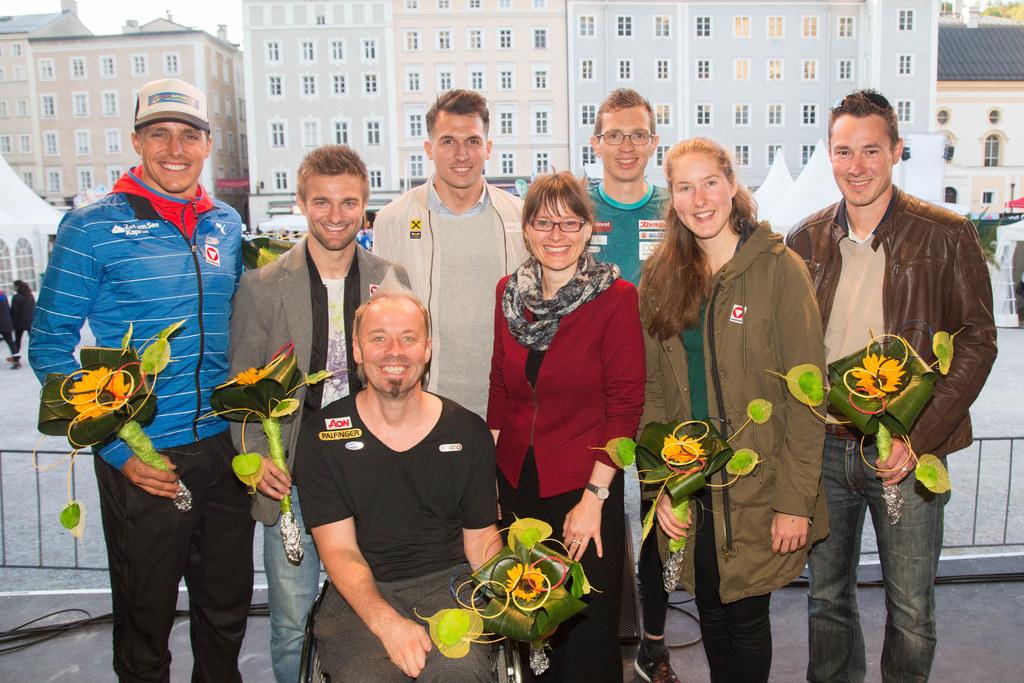 Lokas Hollaus, Lupo Paischer, Thomas Geierspichler, Rene Pranz, Landesrätin Mart..