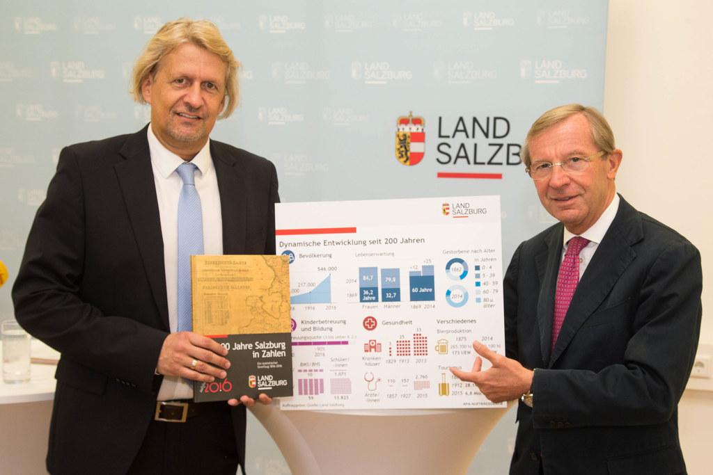 Landeshauptmann Wilfried Haslauer und Gernot Filipp, Leiter der Landesstatistik,..