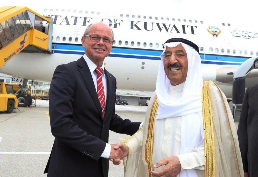Landeshauptmann-Stellvertreter Christian Stöckl empfängt den Emir von Kuwait auf..