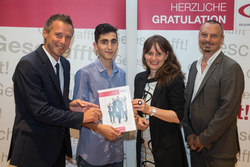 Peter Eder, Mohammad Hassan, Landesrätin Martina Berthold und Werner Pichler