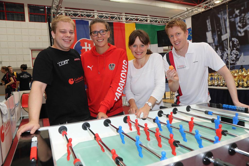 Die beiden regierenden Weltmeister Kevin Hundstorfer und Marina Tabakovic sowie ..