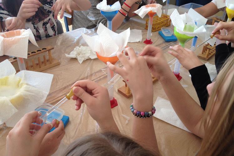 Einen Schwerpunkt der Mädchenberatung bilden die MINT-Workshops in Schulen.