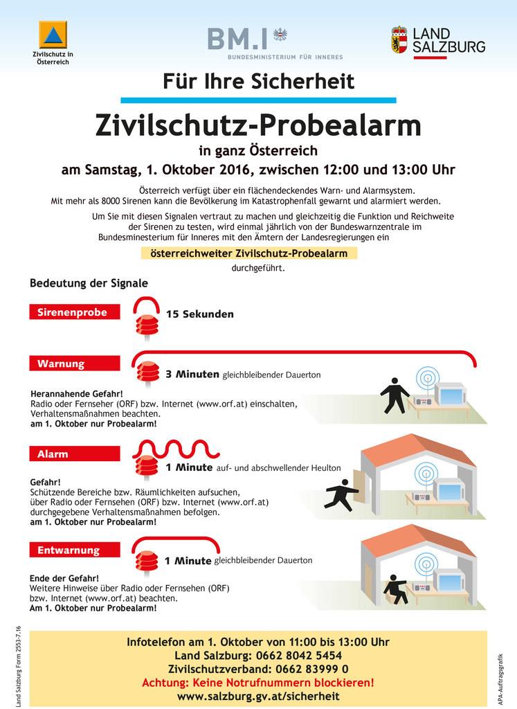 Zivilschutz-Probealarm am 1. Oktober