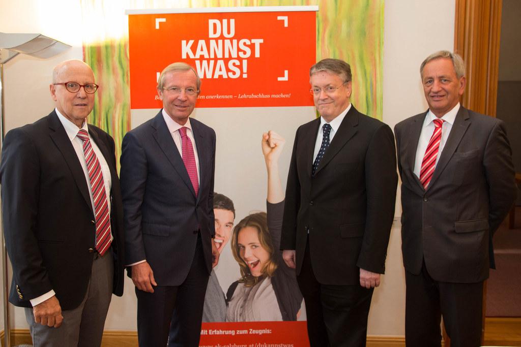 Siegfried Pichler, Landeshauptmann Wilfried Haslauer, Rudolf Eidenhammer und Ger..