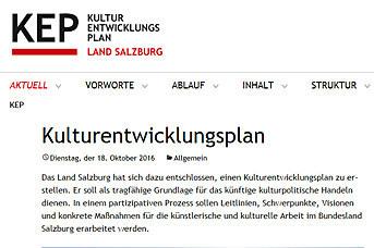 Die Webseite des Kulturentwicklungsplans ist unter www.kep-land-salzburg.at ab s..