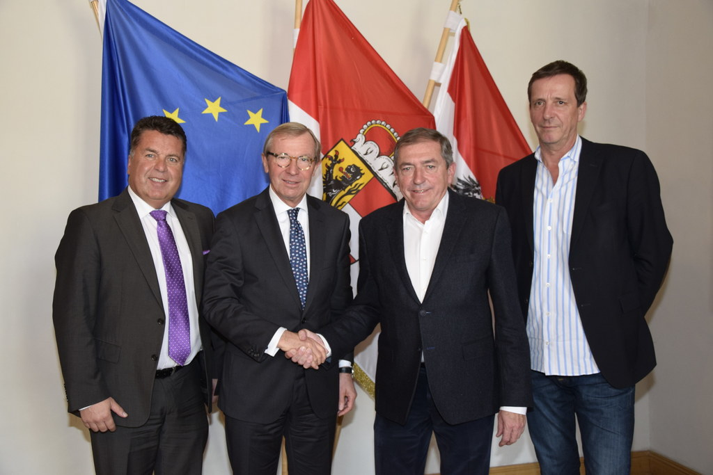 Landesrat Hans Mayr, Landeshauptmann Wilfried Haslauer, Bürgermeister Heinz Scha..