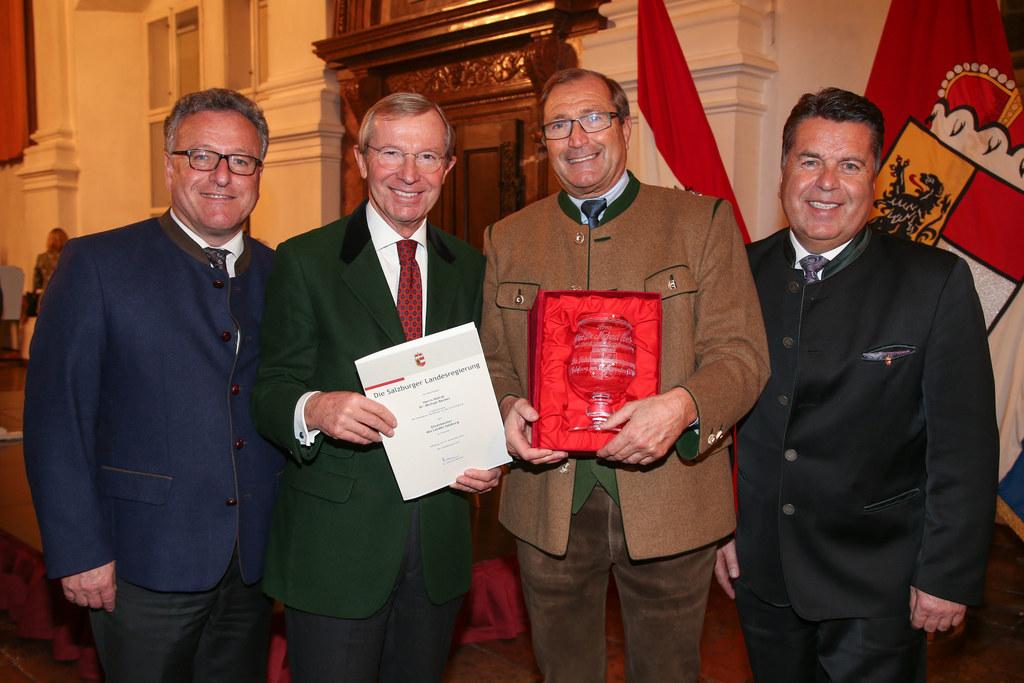 LR Heinrich Schellhorn, LH Wilfried Haslauer, Michael Becker und LR Hans Mayr