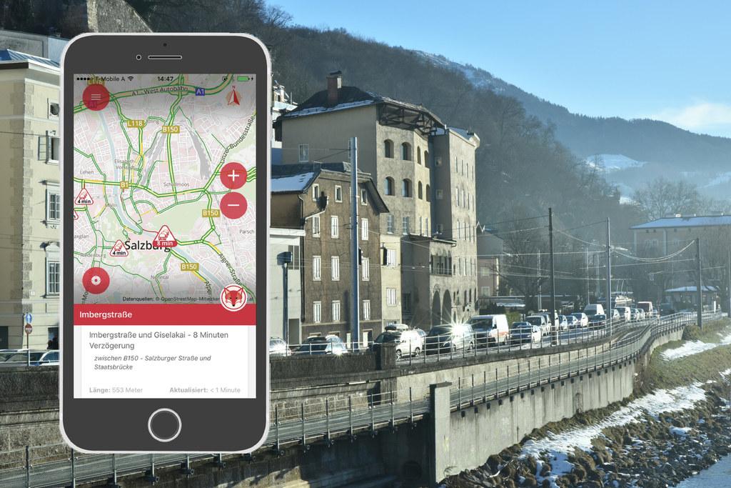 App von Salzburg Research und Land Salzburg zeigt die aktuelle Verkehrslage
