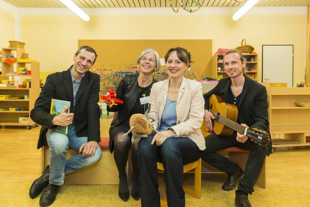 Rafael Paulischin-Hovdar, Angelika Werner, Landesrätin Martina Berthold und Seba..