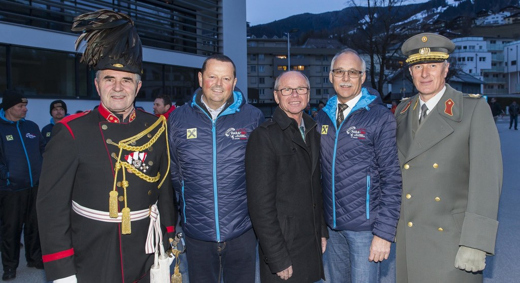 Eröffnung Para-Ski WM in St. Johann: Albin Gschwandl, Wolfgang Hettegger, Lande..