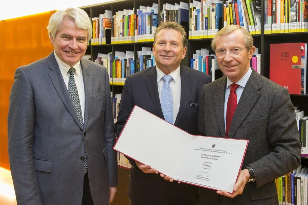 Heinrich Schmidinger, Gerhard Aumayr und Landeshauptmann Wilfried Haslauer