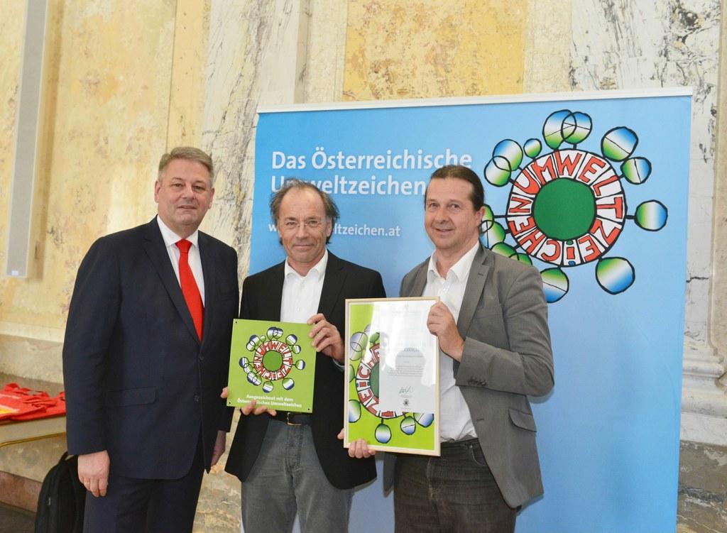 Bundesumweltminister Andrä Rupprechter, Alfred Auer und Hans Holzinger von der R..