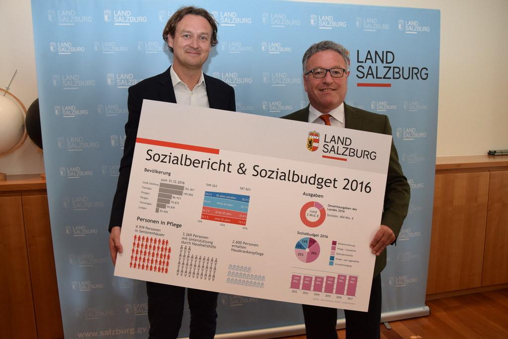 Sozialabteilungs-Leiter Andreas Eichhorn (links) und Landesrat Heinrich Schellho..