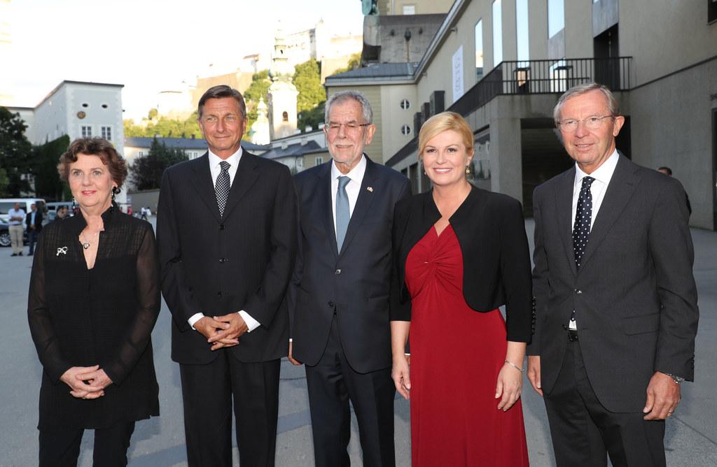 Festspielpräsidentin Helga Rabl Stadler, der slowenische Staatspräsident Borut P..