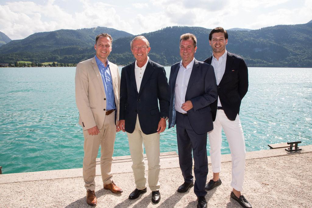 Hansjörg Brunner, Landeshauptmann Wilfried Haslauer, Martin Marek und Philipp Sc..
