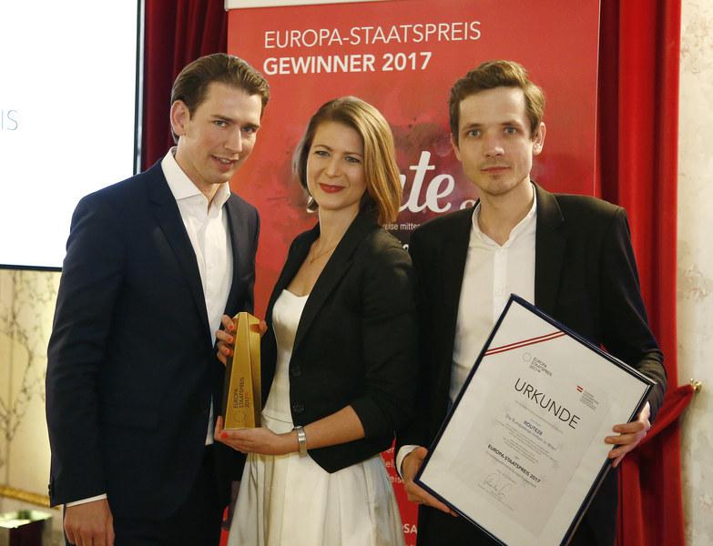 Bundesminister Sebastian Kurz , Katharina Moser und Stefan Apfl.