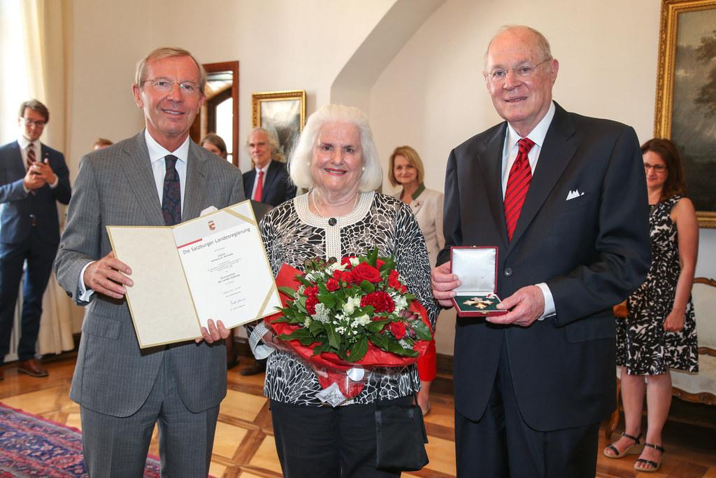 Landeshauptmann Wilfried Haslauer, Mary Kennedy und Justice Anthony M. Kennedy.