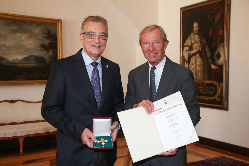 Walter Steidl und Landeshauptmann Wilfried Haslauer.