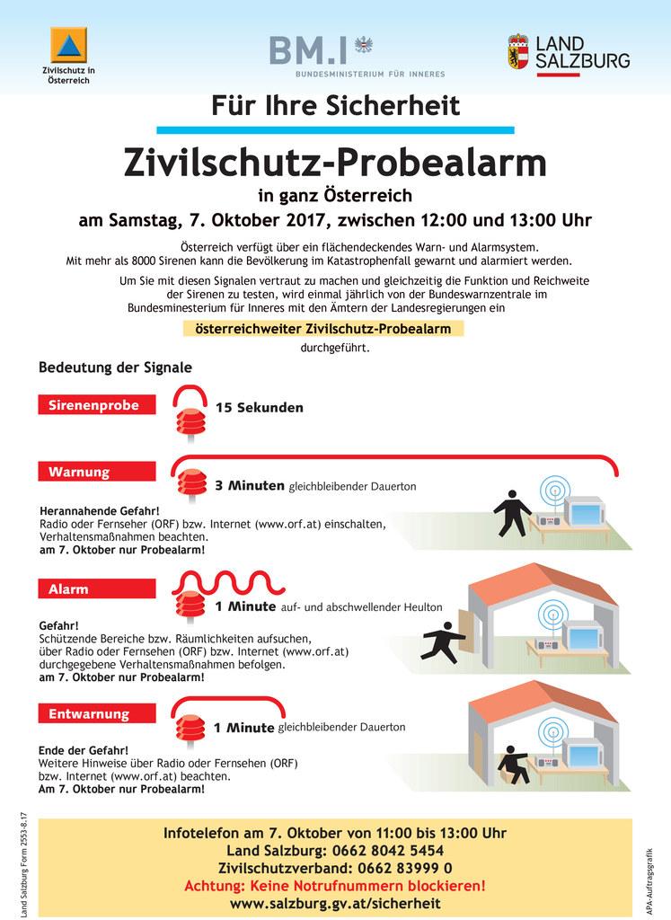 Der Zivilschutz-Probealarm findet am 7. Oktober statt