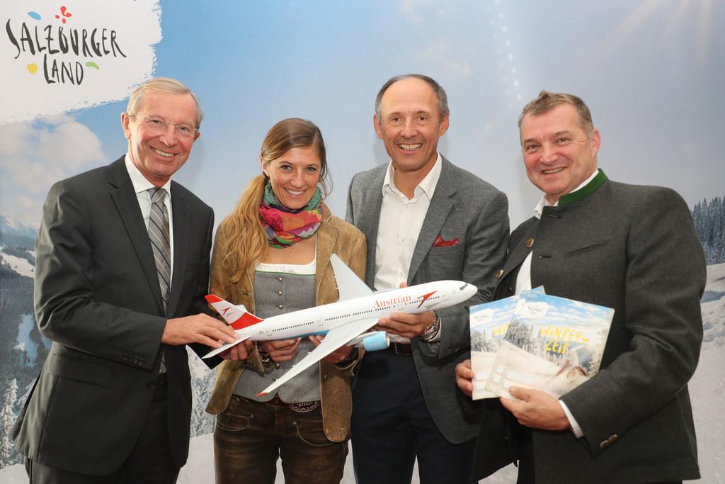 Landeshauptmann Wilfried Haslauer, Manuela Wolf, Leo Bauernberger und Erich Berg..