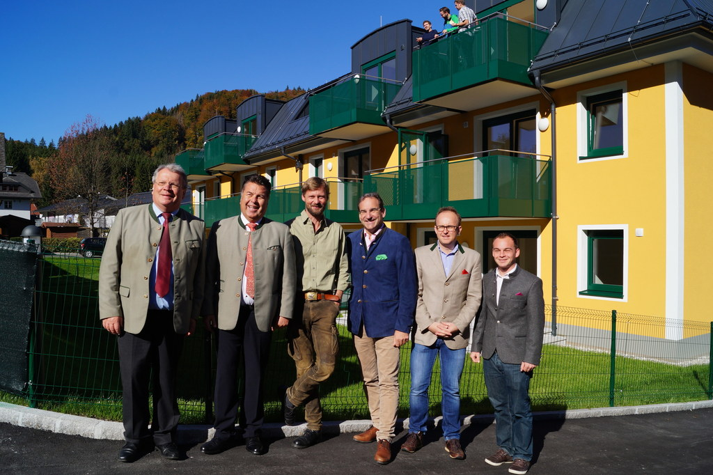 Richard Hemetsberger, Bgm. Grödig, Landesrat Hans Mayr, Max Mayr-Melnhof (Invest..