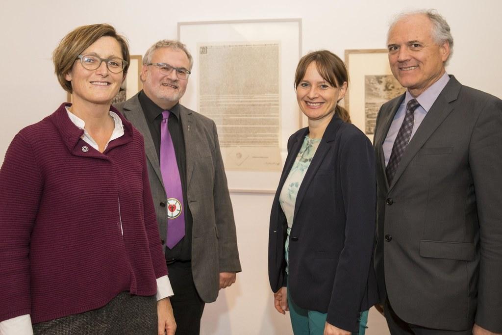Adelheit Schreilechner, Tilamnn Knopf, Landesrätin Martina Berthold und Robert L..