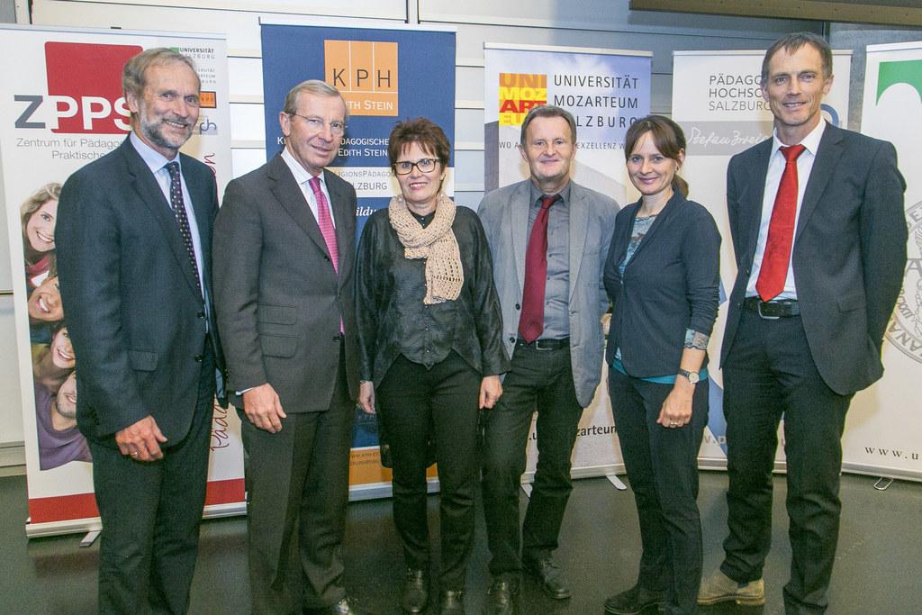 Foto v.l.n.r.: Vizerektor Uni Salzburg Erich Müller, LH Wilfried Haslauer, PH-Re..