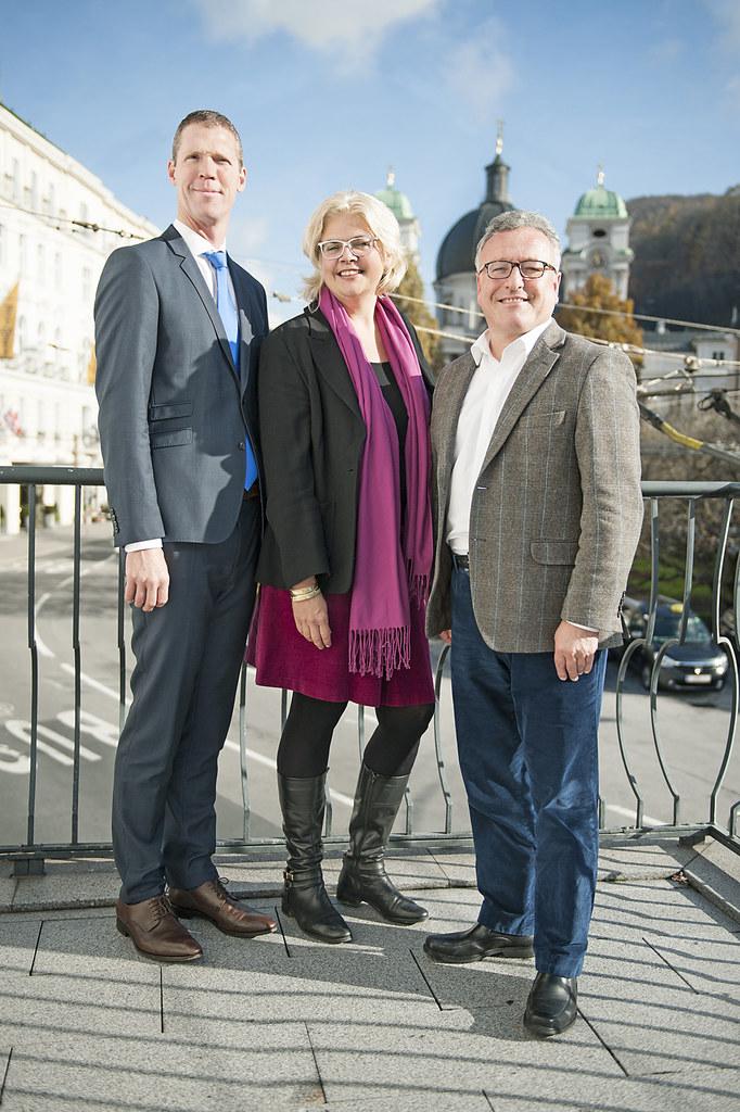 Bernhard Utz, Vize-Bürgermeisterin Anja Hagenauer und Landesrat Heinrich Schellh..
