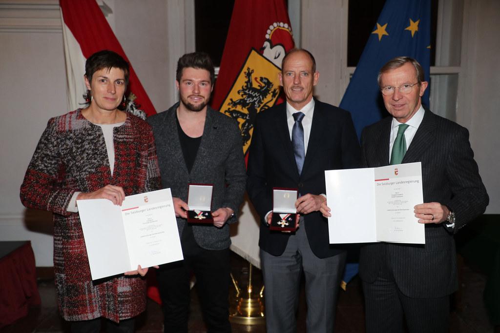 Landeshauptmann Wilfried Haslauer (rechts) und Landeshauptmann-Stellvertreterin ..