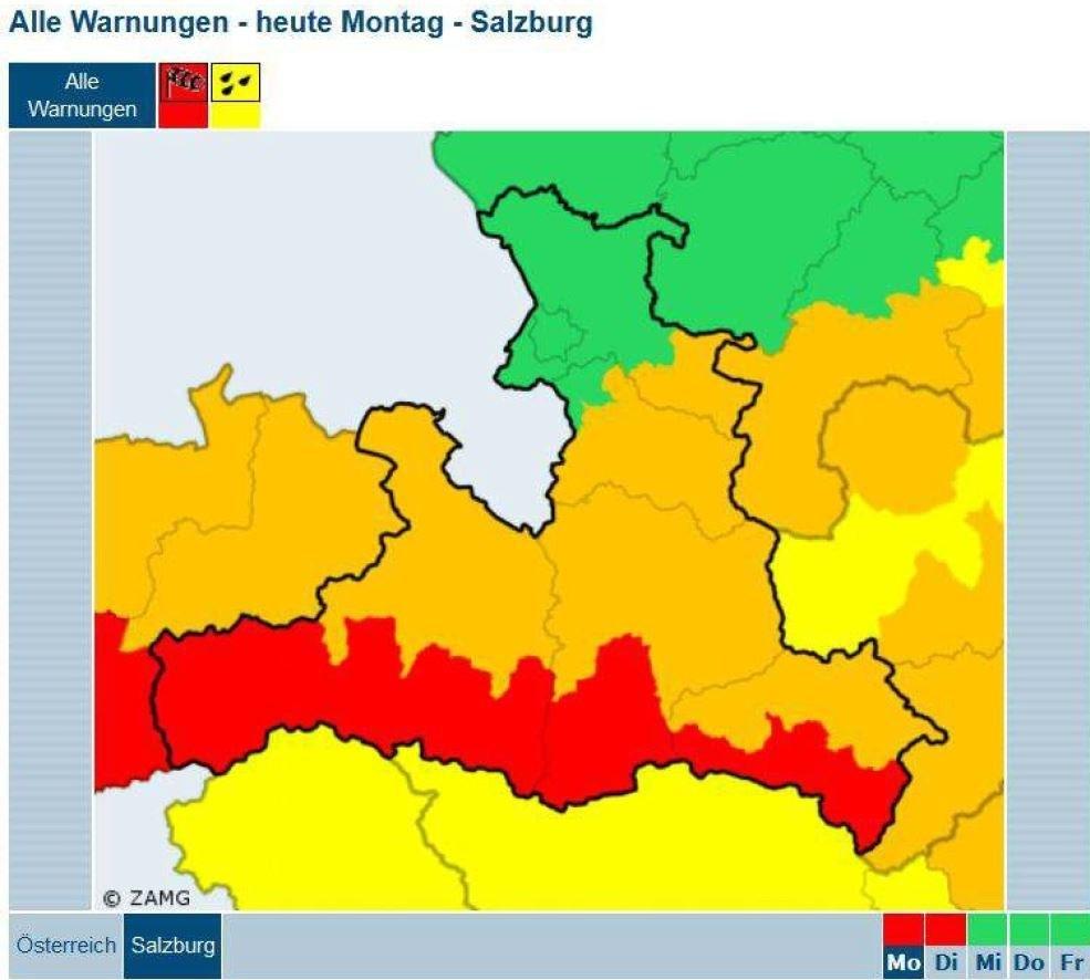 Die Karte zeigt die Zonen mit der höchsten Warnstufe ROT.