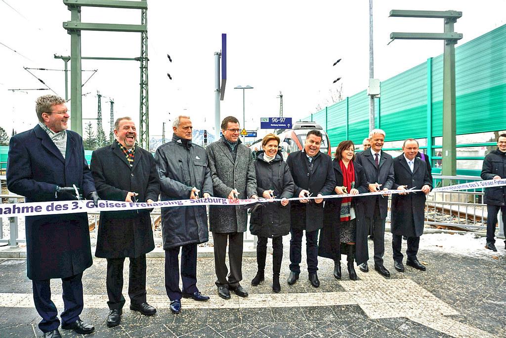 Eröffnung des dritten Gleises zwischen Salzburg und Freilassing.