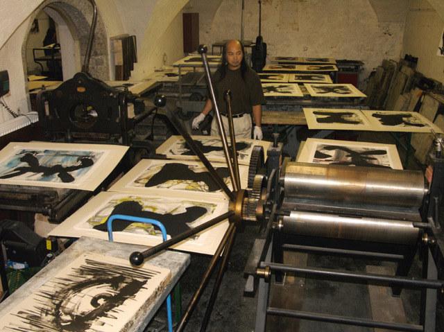 In der Grafischen Werkstatt im Traklhaus entstanden im Jahr 2007 Arbeiten der Zh..