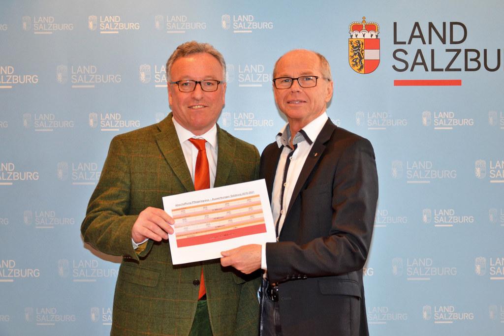 Sozialreferent Heinrich Schellhorn und Finanzreferent Christian Stöckl beim Info..