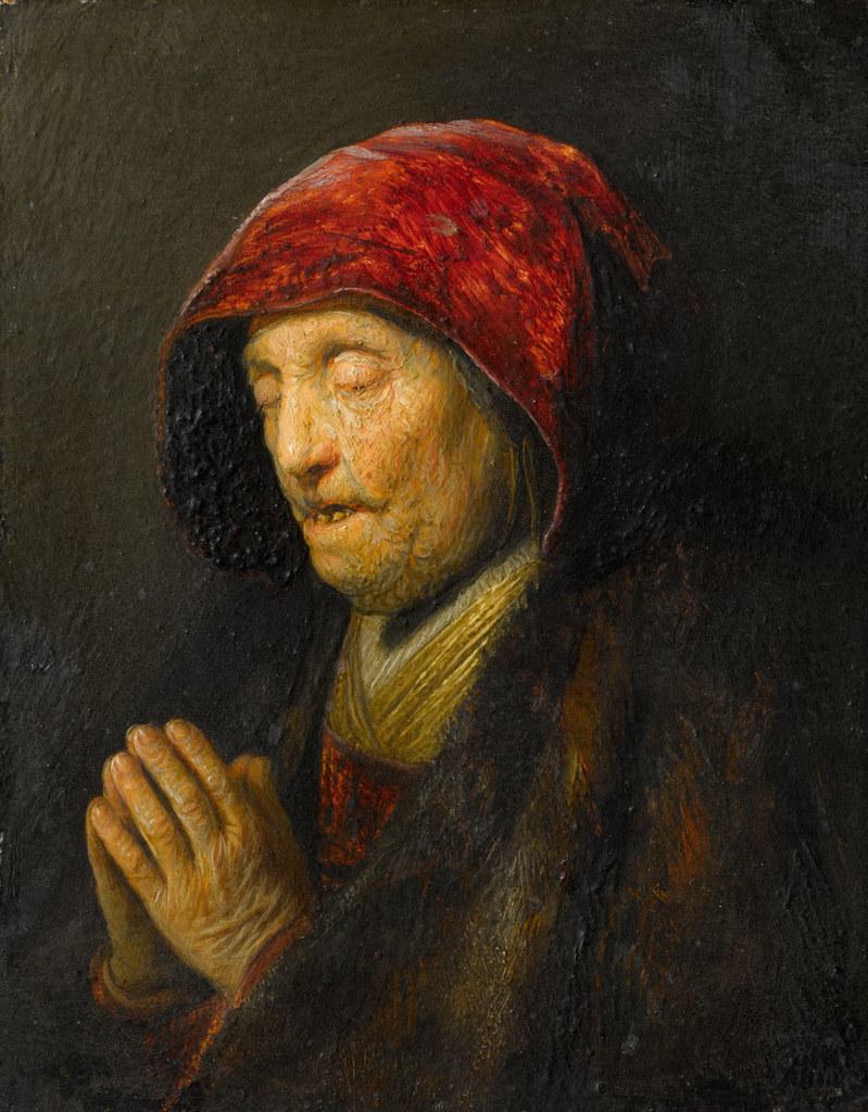 Rembrandt van Rijn, Betende alte Frau, 1629/1630, Öl/vergoldete Kupferplatte, 15..